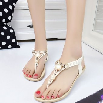 Women Casual Flat Sandals Crystal Beading Back Strap (White) - Intl