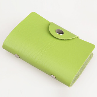 12Card Position Faux Leather Card Holder Card Pack Card Protector Bag Green - intl