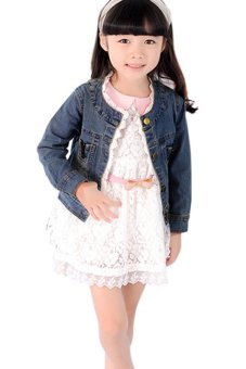 Cyber Girl Long Sleeves Jeans Coat Lace Cute Party Jacket Coat (Blue) - intl