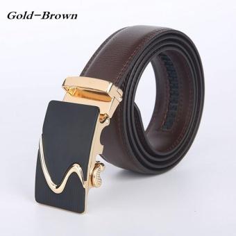 Lan-store Premium Quality Men Belts Genuine Leather Belts (Gold-Brown) - intl
