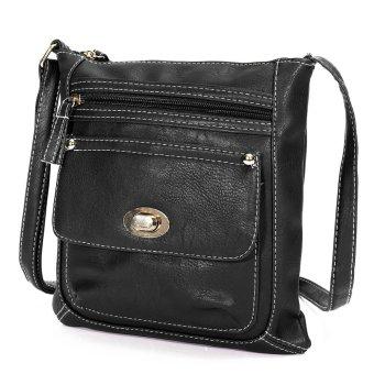 NEW Women Leather Handbag Purse Tote Satchel Messenger Crossbody Shoulder Bag Black - Intl