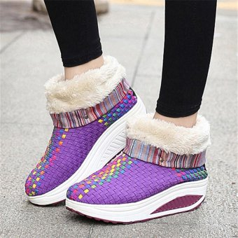 LALANG Women Ankle Breathable Casual Shoes Shake Wedge Snow Boots Purple - intl