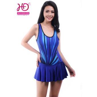 GYMDI Áo tắm liền mảnh có váy xòe (màu xanh)