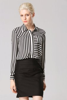 Cyber Women's Casual Stripe Turndown Collar Chiffon Shirt (Black + White) - Intl
