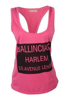 Sleeveless Letter Print Loose Fitting Top (Pink)