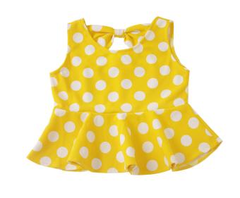 Áo peplum thun xốp chấm bi bé gái 1-10 tuổi Tri Lan ABG009 (Vàng và trắng)