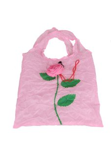 Cute 1Pc Rose Flowers Reusable Folding Shopping Bag Travel Grocery Pink - Intl