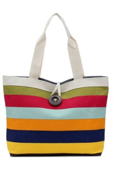 Lady Colored Stripes Canvas Shopping Handbag (Multicolor)