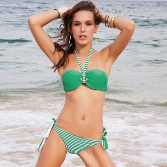 Bikini Set Two Piece Swimsuit Low Waist Swimwear (Green) - intl
