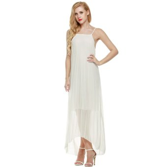 Cyber ACEVOG Women Sleeveless Chiffon Pleated Casual Beach Maxi Summer Long Dress (White) - Intl