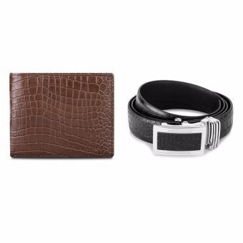 Bộ ví và thắt lưng nam da bò thật LAKA (Nâu cá sấu, Đen cá sấu) V04TL03
