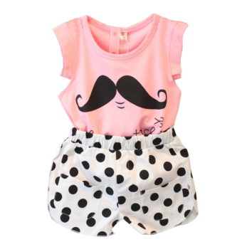 Girl Beard Pattern Sleeveless Shirt Pants Suit Pink - intl