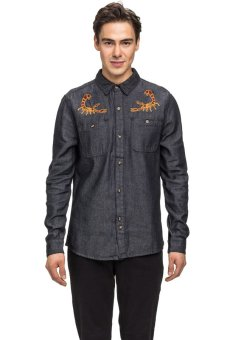Bellfield Men's Denim Shirt With Scorpian Embroidery Black