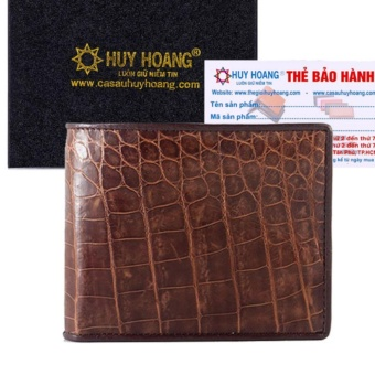 HL2202 - Bóp nam Huy Hoàng da cá sấu gai bụng màu nâu đỏ