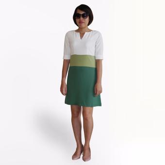 Đầm sọc 3 màu OYO FASHION (xanh lá cây)