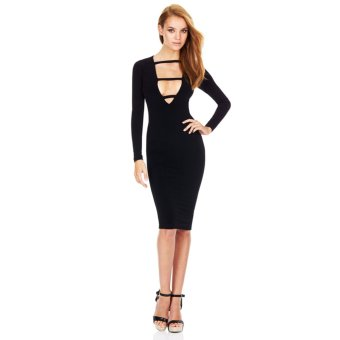 Fashion Sexy Women Dress Deep V-Neck Front Strap Long Sleeve Bodycon Knee-Length Party Dress - Intl
