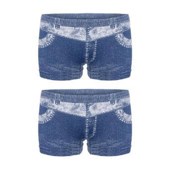 Bộ 2 quần đùi giả jeans Akio Wash jeans (Xanh)