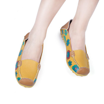 Casual Floral Print Patchwork Slip On Flat Shoes(Yellow) - intl
