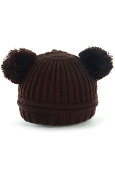 Baby Dual Ball Toddler Crochet Knitted Cap Winter Warm Hat Beanie Cap Coffee - Intl