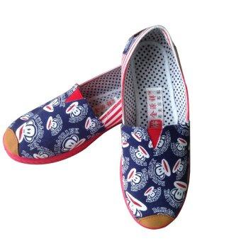 Giày lười slip on nữ họa tiết khỉ Đỏ