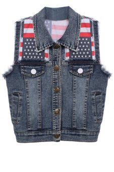 Cyber Fashion Kids Boys Children Slim Fitted National Flag Pattern Design Denim Jean Vest - intl