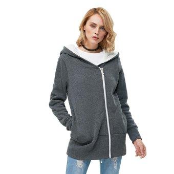 Gamiss Ladies Long Sleeve Hoodies Casual Pure Color Zipper Design(Grey) - intl