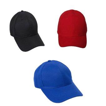 Bộ 3 mũ lưỡi trai nam trơn GT 247 (1 đỏ+1 xanh+đen)