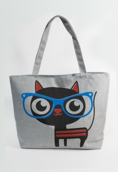 Túi Vải Tote Họa Tiết Mèo Kính Xanh Xinh Store