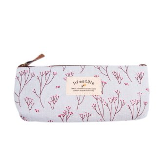 Fancyqube Floral Canvas Pencil / Stationery Bag Light Blue - Intl