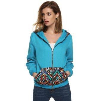 Cyber Zeagoo Women Casual National Style Pattern Patchwork Hooded Sweatshirt Top Hoodies ( Blue ) - Intl