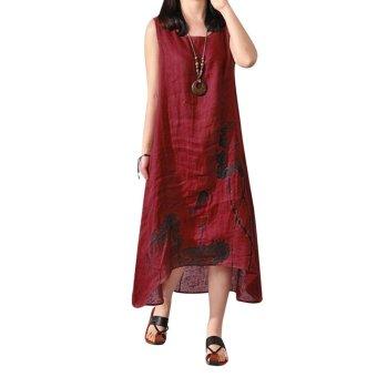 Boho A-line Tank Linen Dress Burgundy - intl