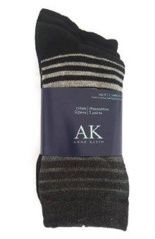 Bộ 3 đôi tất (vớ) nữ Anne Klein Women's 3 Pair Pack Ombre Stripe Crew Socks, Black, One Size
