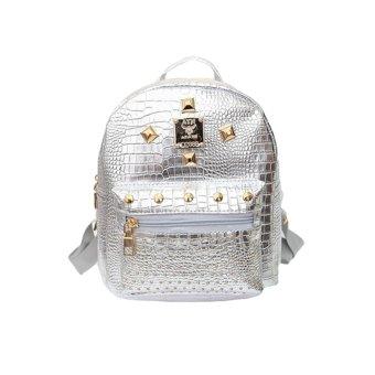 Fashion Girls Women Backpack PU Leather Rivet Casual Student Schoolbag Small Bag Silver - Intl