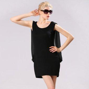Cyber Finejo Sexy Women Cape Shawl Split Sleeve O-Neck Chiffon Splice Mini Party Dress ( Coffee ) (Intl) - Intl