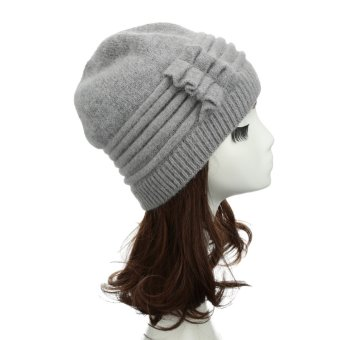 New Fashion Women Knitted Hat Ruffle Ornament Many Colors Thick Warmer Cap Headwear - Intl