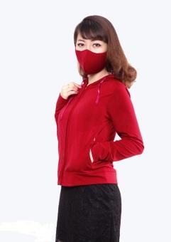 Áo khoác chống nắng cotton 2 trong 1 (Đỏ đô)
