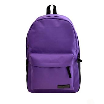 Fashion Simple Women Canvas Backpack Schoolbag Deep Purple