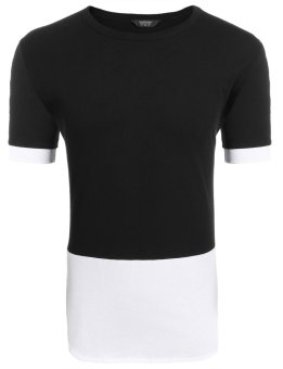 Cyber Men's Short Sleeve Contrast Color Patchwork Split Casual T-Shirt ( Black ) - intl