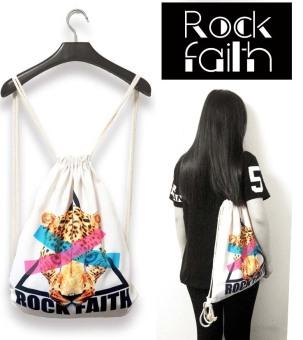ZAFUL Women's drawstring backpack printing travel softback tote bag backpack bag 5# - intl