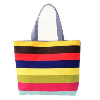 Lady Fine lines Shopping Handbag Shoulder Canvas Bag Tote Purse Red