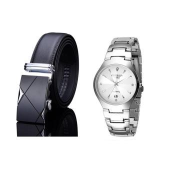 Bộ đôi đồng hồ dây da nam TG001 và đồng hồ inox không gỉ 8863
