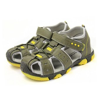 Moonar Boys Summer Sandal Children Casual Breathable Antiskid Leather Shoes (Yellow) - intl