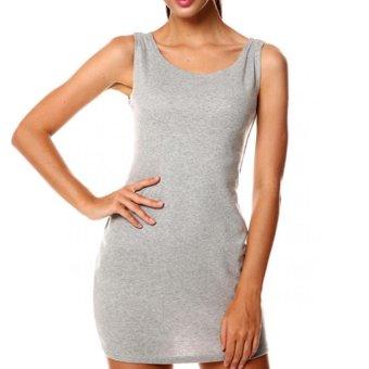 Cyber Meaneor Women Sleeveless O-Neck Package Hip Slim Bodycon Mini Tank Dress ( Grey ) - Intl