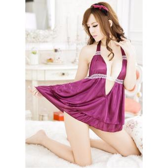 Đầm Ngủ Xinh Lụa Tím Gợi Cảm MS733