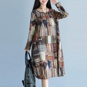 Vintage Lady Long Sleeve Batwing Retro Floral Print Long Maxi Dress Kaftan Shirt - intl