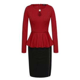 Cyber Finejo Women Casual O-Neck Long Sleeve Peplum Design Patchwork Package Hip Bodycon Dress