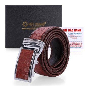 HL4290 - Dây nịt nam da cá sấu Huy Hoàng đan viền bản lớn (Nâu đỏ)