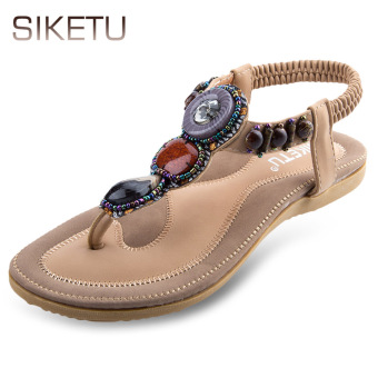 SIKETU Bohemia Rhinestone Design Slip On Flip-flop Sandals(Apricot) - intl