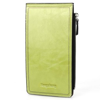 Solid Color Zipper Hasp Design Vertical Thin Long Wallet for Men Women - intl