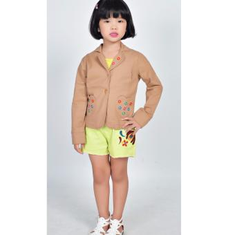 Áo khoác kaki túi tim Somy Kids màu nâu